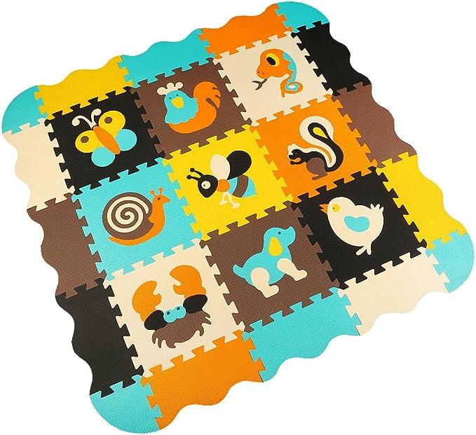 MQIAOHAM 9 Alfombra de juego con bordes Kids Multi-Color Safe ...