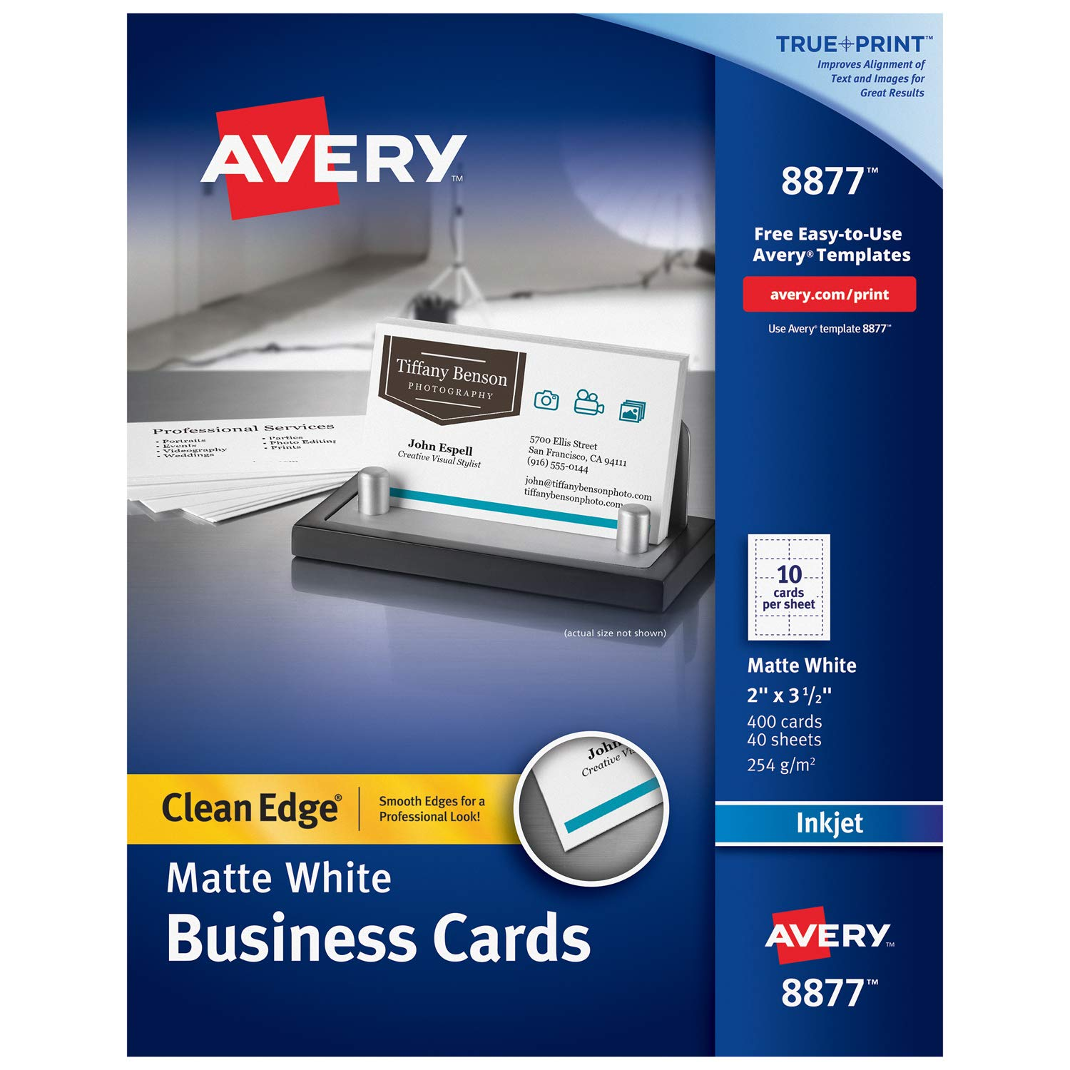 Avery Printable Business Cards, Inkjet Printers, 400 Cards, 2 x 3.5, Clean Edge, Heavyweight (8877), White