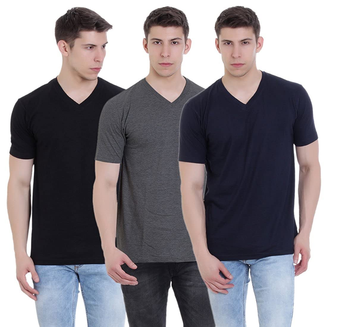 06bfc9787 FAB69 Solid Men's V Neck Half Sleeve Cotton Plain Black/Navy Blue/Charcoal Melange  T-Shirt (Combo Pack of 3) - Leather Patch - Bottom Hem: Amazon.in: ...