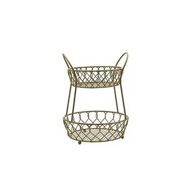 Gourmet Basics by Mikasa 5216559 Loop and Lattice Metal 2-Tier Round Fruit Storage Basket, Matte Gold