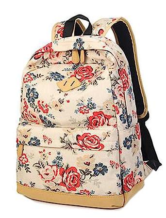 678d9e8c5cb94 Frischer Blumenmuster Segeltuch-Rucksack Teenager-Alter Mädchen Schultasche  Damen Outdoor Freizeit-Rucksack (