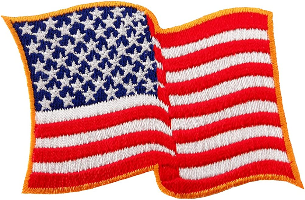 Waving American Flag Embroidered Patch iron-on