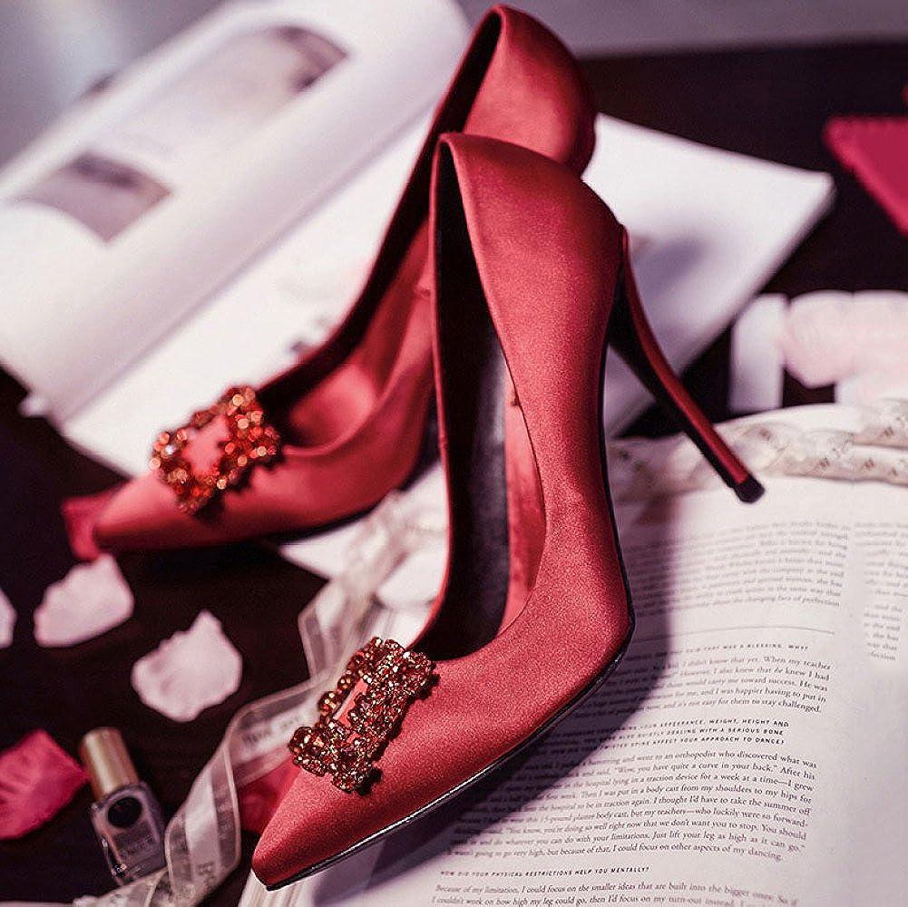 DKFJKI Damenschuhe Rote Hochzeitsschuhe Braut- Braut- Braut- Vintage- Strass Hochhackige Hochzeitsschuhe Seide Leichte Luxus ROT f2dd49