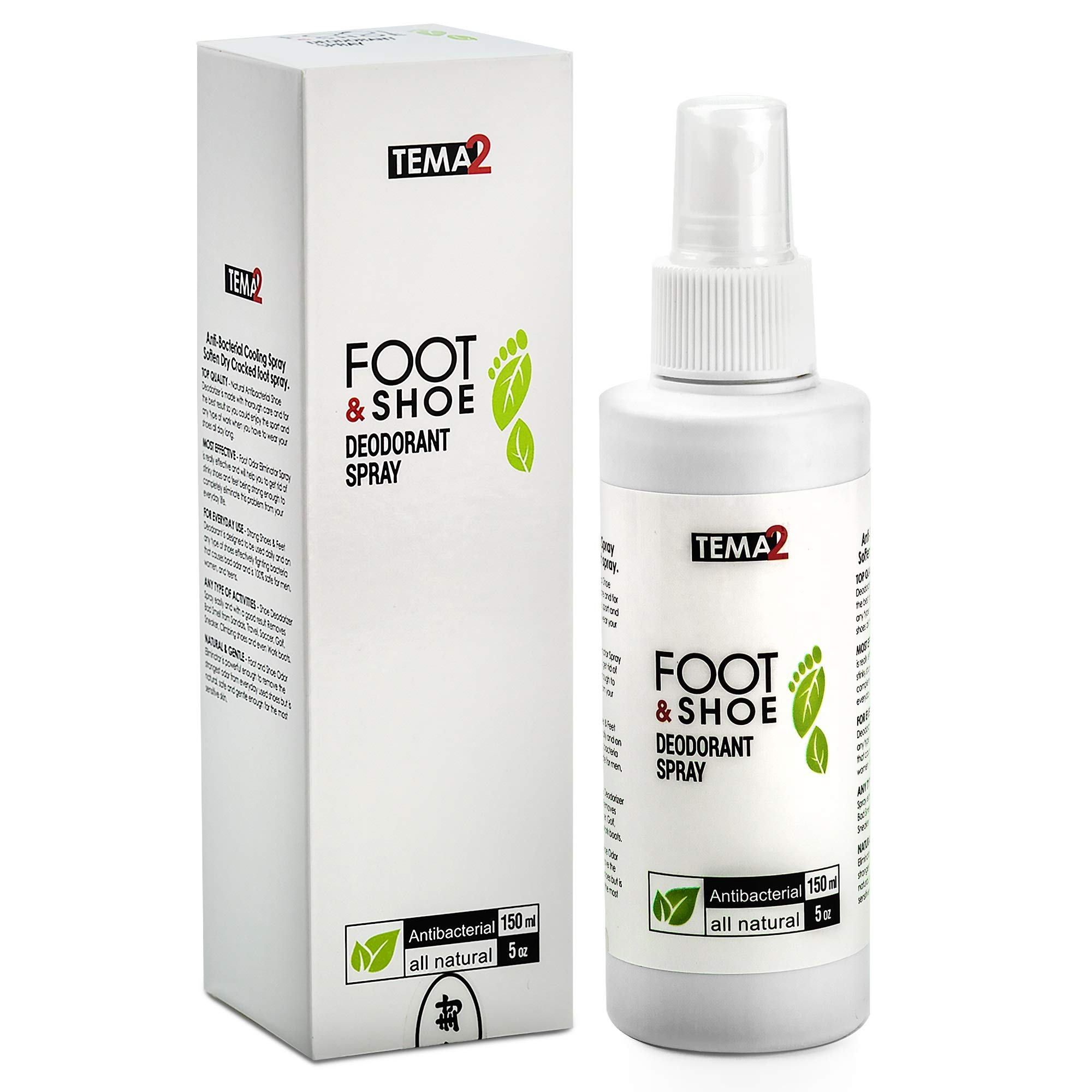 Shoe Deodorizer and Foot Odor Eliminator Spray - Strong Feet & Shoe Deodorant - Removes Bad Smell from Sandals Tennis Athlete Dance Sneaker Climbing Work Stinky Shoes by TEMA2