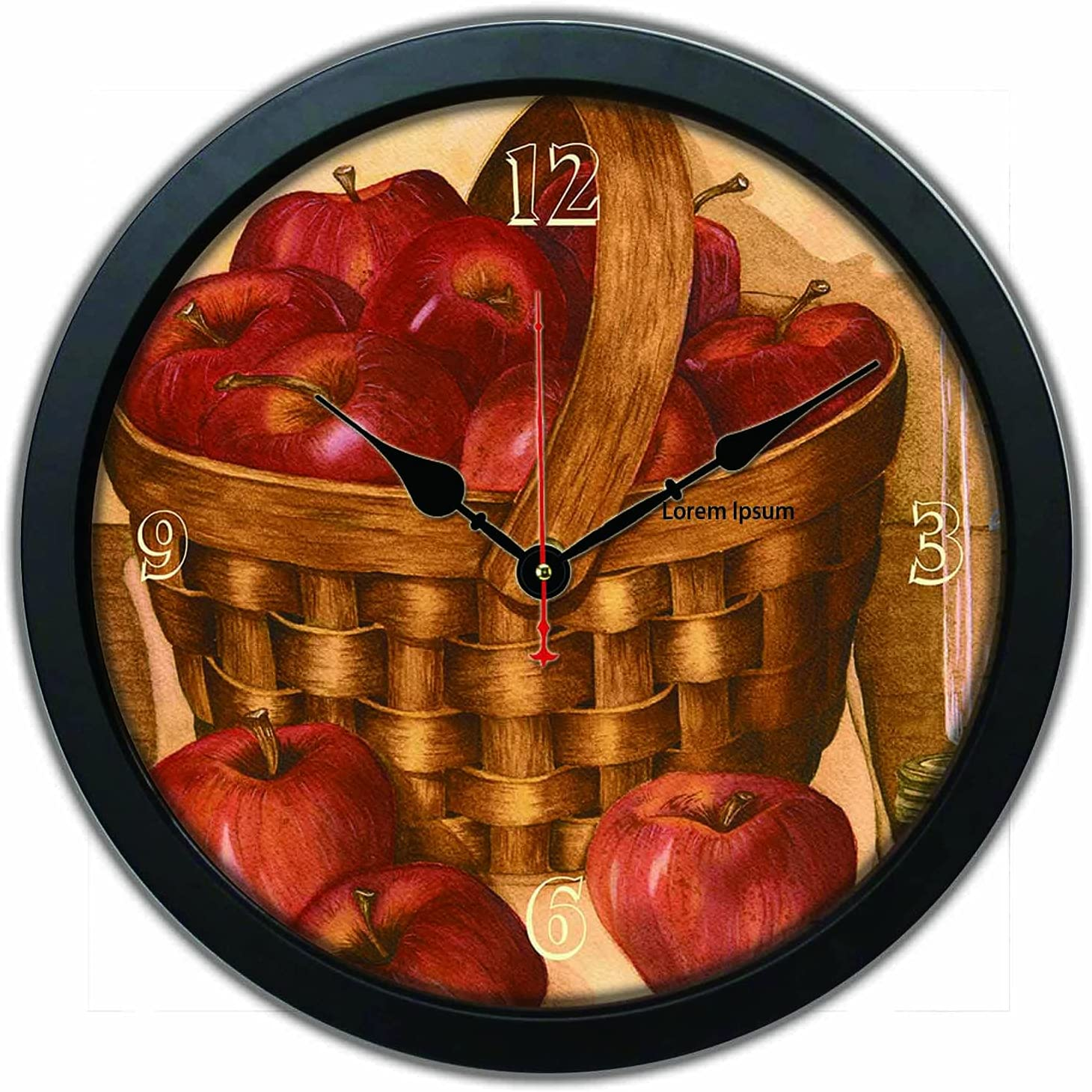 12 inch Round Frame Wall Clock Red Apple Silent Easy to Read for Home Office School Decor or Gifts