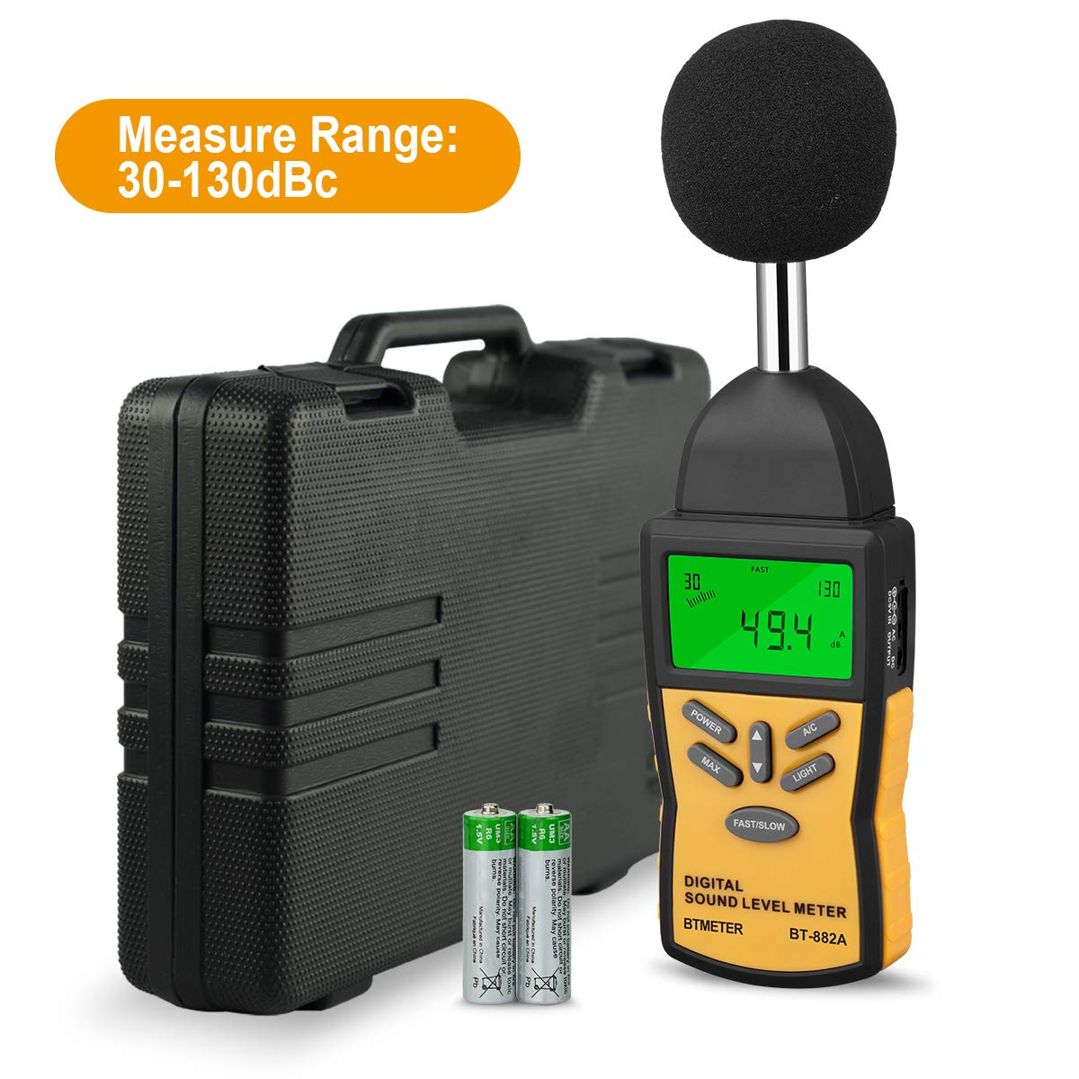 Decibel Meter- BTMETER BT-882A Digital Sound Level Meter Sound Pressure Level Reader(SPL) with 30-130dB Range for Noise Measurement by BTMETER