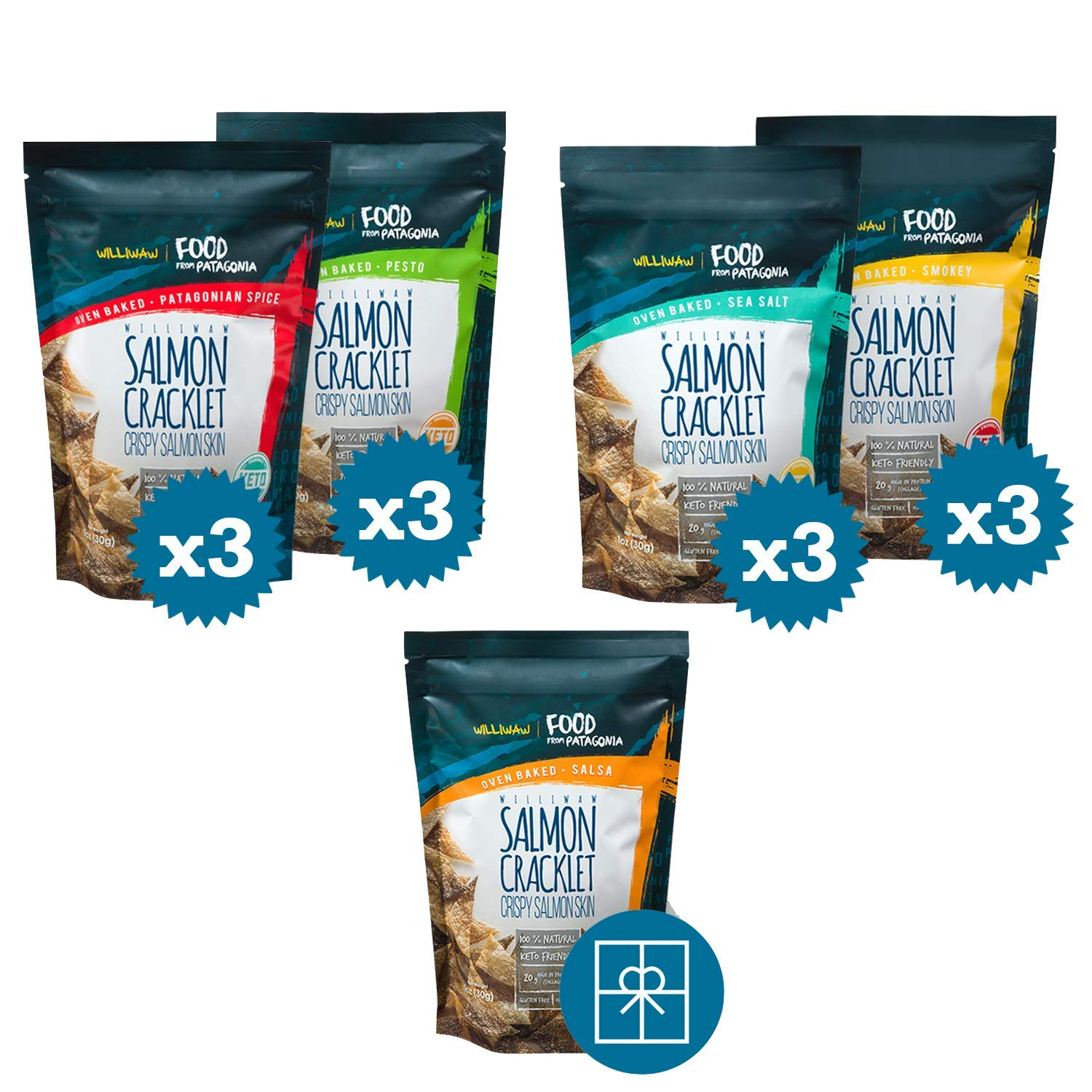 Williwaw Salmon Cracklet Pack – 1 oz – Gluten Free High Protein Snacks – Keto Friendly, High in Collagen, Up-Cycling, Crispy, Patagonia – Natural Oven Baked Crackers - Pack of 12 + Get 1 For Free