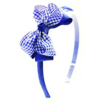 Green Gingham Hair Bow Bobbles Hairband Fabric Clip Tie Head Band School Uniform