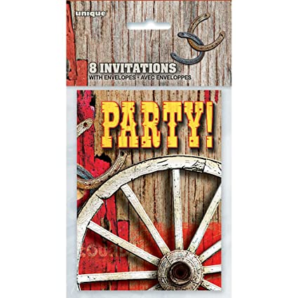amazon com rodeo western party invitations 8ct kitchen dining