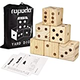 """Giant Wooden Yard Dice-Giant Outdoor Gaming Dice Set 3.5""""-Includes 6 Dice, Scoreboard and Canvas Carrying Bag-Great Backyard"""