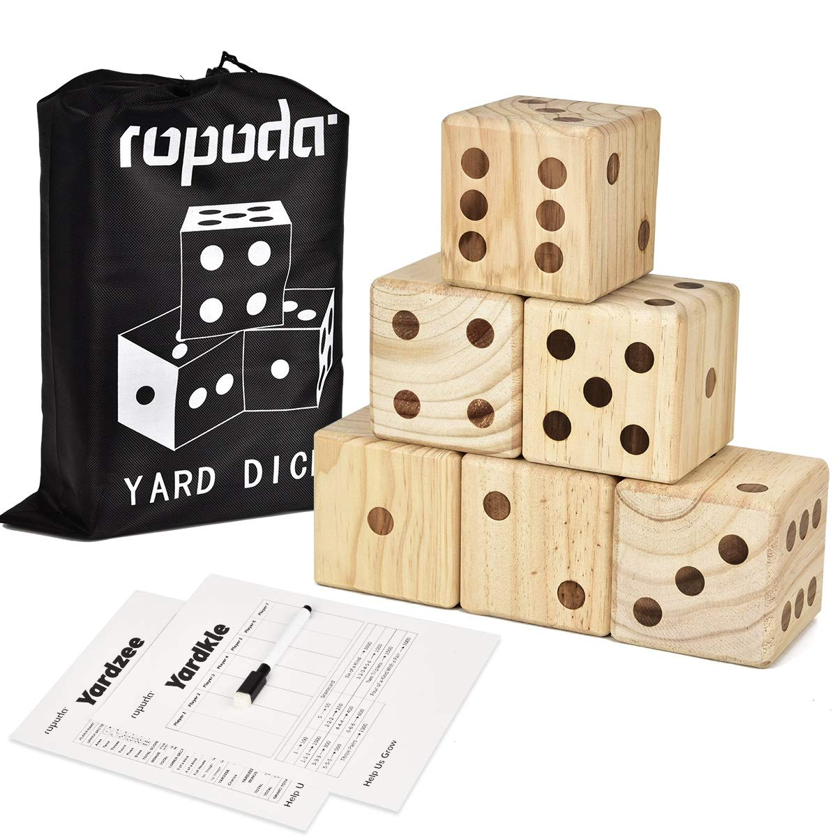 ROPODA Giant Wooden Yard Dice-Giant Outdoor Gaming Dice Set 3.5''-Includes 6 Dice, Scoreboard and Canvas Carrying Bag-Great Backyard and Lawn Game.