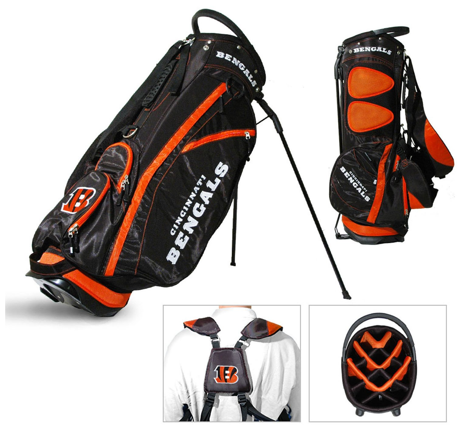 Team Golf NFL Cincinnati Bengals Fairway Golf Stand Bag, Lightweight, 14-way Top, Spring Action Stand, Insulated Cooler Pocket, Padded Strap, Umbrella Holder & Removable Rain Hood