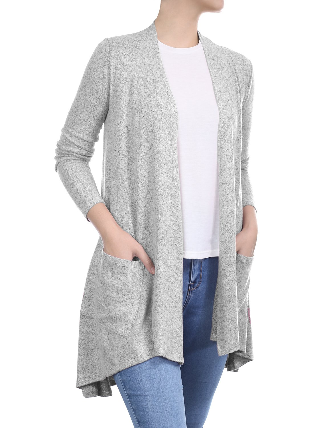 BIADANI Women Long Sleeve Classic Lightweight Front Pockets Cardigan Light Sweater Grey XX-Large by BIADANI