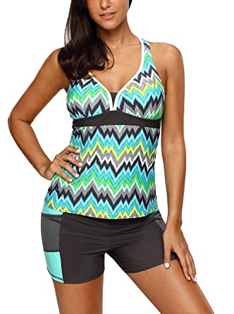 e5ca4d3c7ada82 Nicetage Womens Color Block Printed Racerback Tankini Swimsuits with Shorts  S – XXXL 410456 (Green