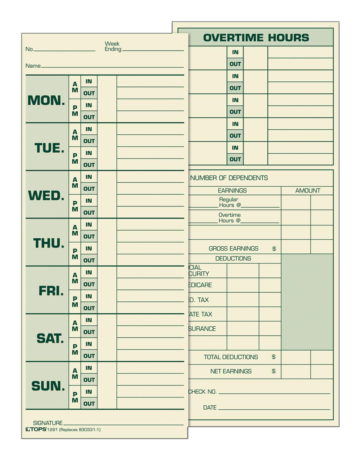 Tops 2-Sided 8 1/2 x 3 1/2 Inch Time Cards with Named Days 500 Pack (1291) TOPS Products