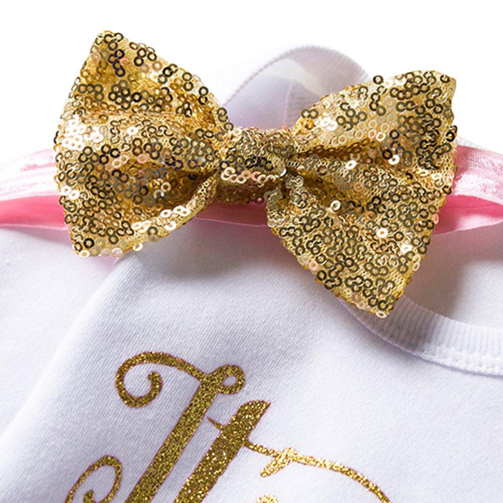 IWEMEK Baby Girl Newborn 1st Birthday Cake Smash 3Pcs Outfits Shinny Sequin Bow Princess Romper+Tutu Skirt Dress+Headband