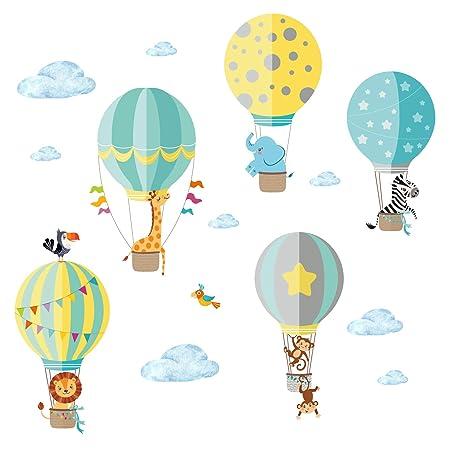 Little Deco Aufkleber Zoo-Tiere im Heißluftballon I M - 130 x 85 cm (BxH) I Wandbilder Wandtattoo Kinderzimmer Jungen Tiere D