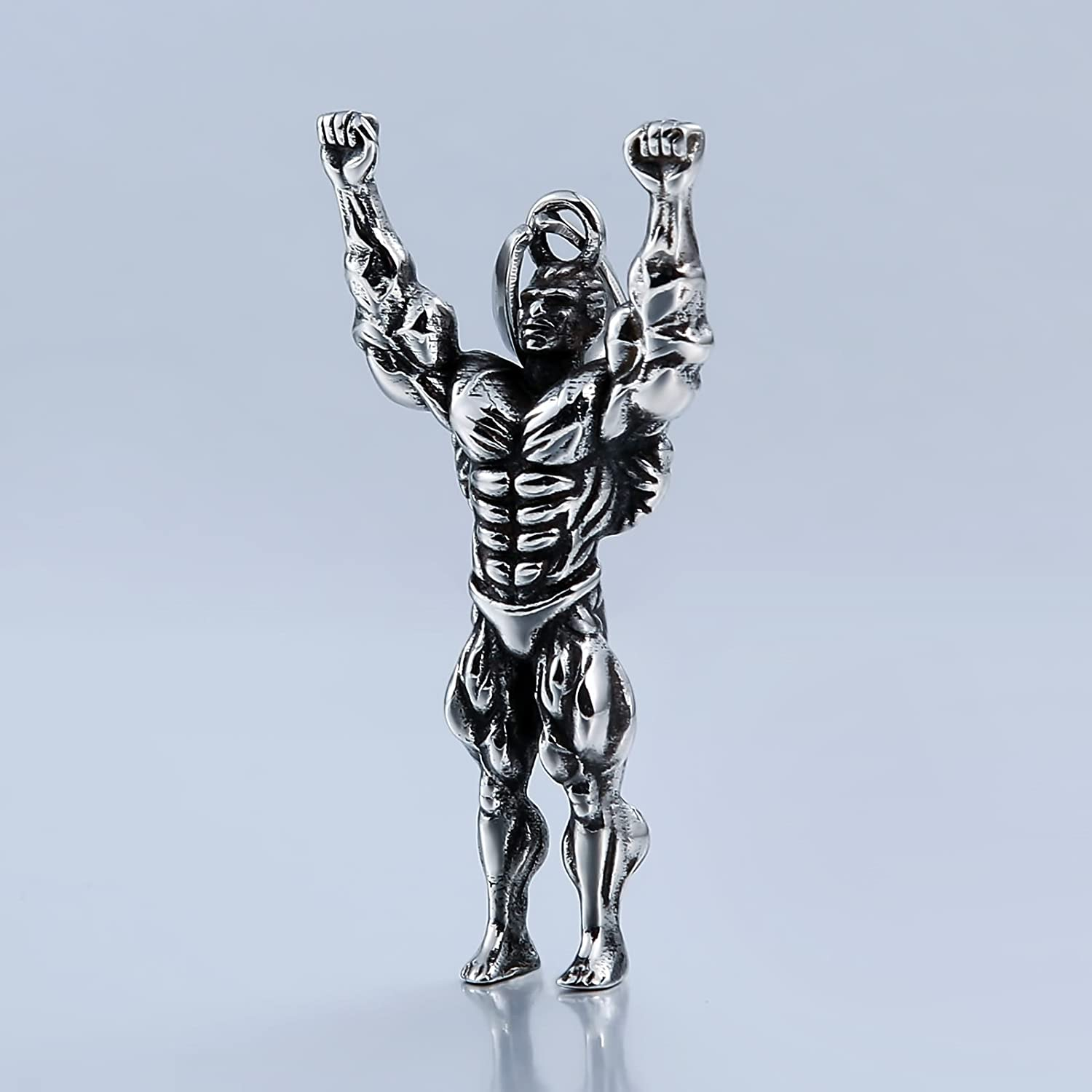 Aokarry Stainless Steel Pendant for Men Muscle Man Silver Engraved Punk Style