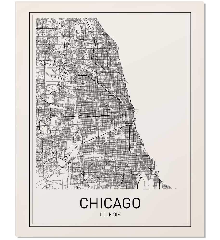 image regarding Printable Maps of Chicago known as : Chicago Print, Chicago Map, Metropolis Maps, Map Print