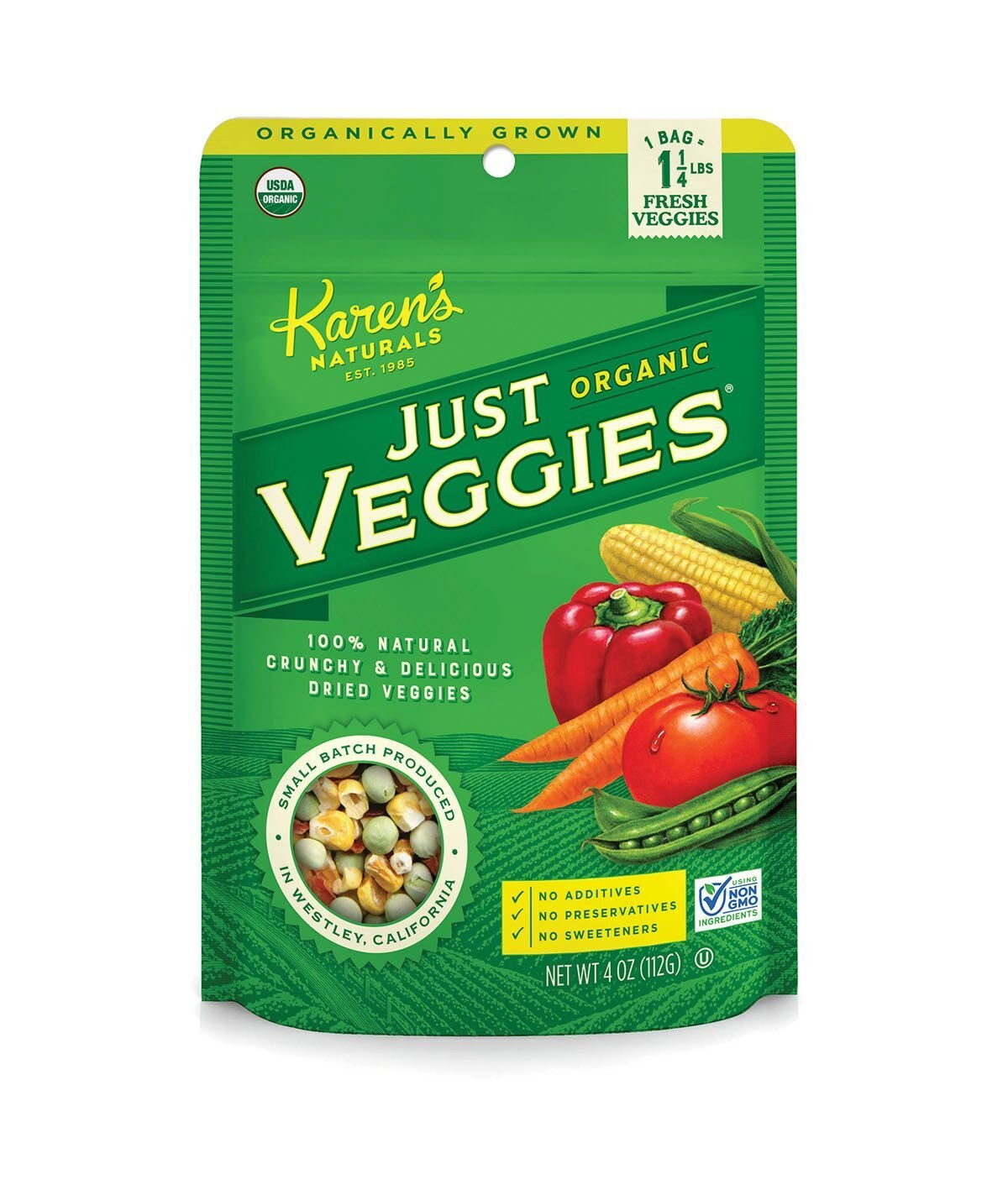 Karen's Naturals Just Tomatoes, Organic Just Veggies 4 Ounce Pouch (Pack of 4) (Packaging May Vary)