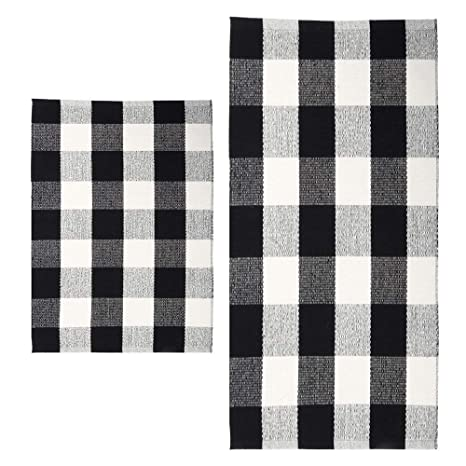 Morecare Buffalo Plaid Rug Set Of 2 100 Cotton Hand Woven Durable Black And White Kitchen Rug Carpet Doormat For Bedroom Laundry And Bathroom 18 X