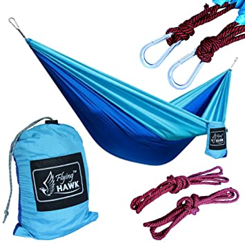 flying hawk xl double parachute camping hammock   premium quality portable outdoor hiking ultralight camping double amazon    flying hawk xl double parachute camping hammock      rh   amazon