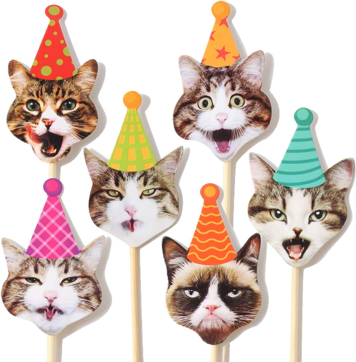 24Pcs Grumpy Cat Cake Cupcake Toppers Cat Birthday Party Favors Decorations Stick Toothpicks Supplies Perfect For Kid's Birthday Parties Baby Shower Kid's Party Cat Party Safe Sturdy Sticks