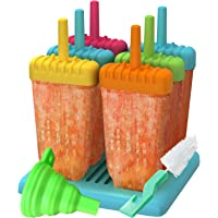 Ozera Reusable Popsicle Molds Ice Pop Molds Maker - Set of 6 - With Silicone Funnel & Cleaning Brush - Assorted Colors