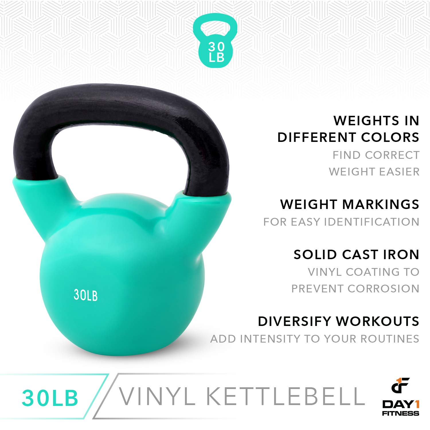 Day 1 Fitness Kettlebell Weights Vinyl Coated Iron 30 Pounds - Coated for Floor and Equipment Protection, Noise Reduction - Free Weights for Ballistic, Core, Weight Training by Day 1 Fitness (Image #5)