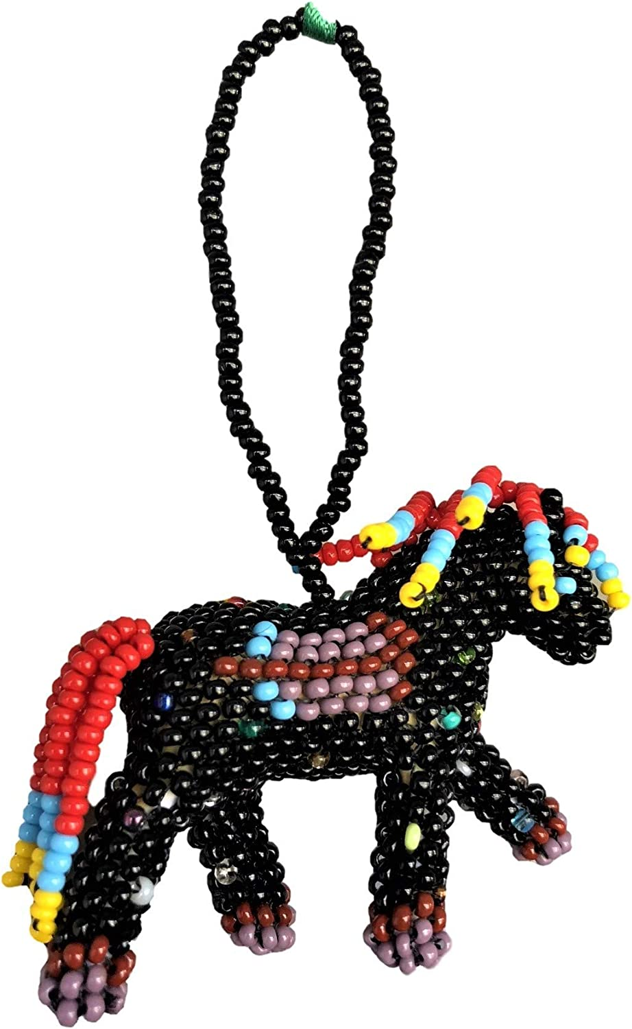 Mayan Arts Mini Beaded Horse, Red, Orange, Green, Black, and Brown Novelty Christmas Tree Ornaments, Holiday Decoration, Handmade in Guatemala 1.5 x 2 Inches