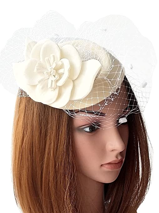 Vintage Inspired Wedding Accessories Fascinators Womens Pillbox Hat Wool Felt Veil Cocktail Tea Party Wedding Hats $12.98 AT vintagedancer.com