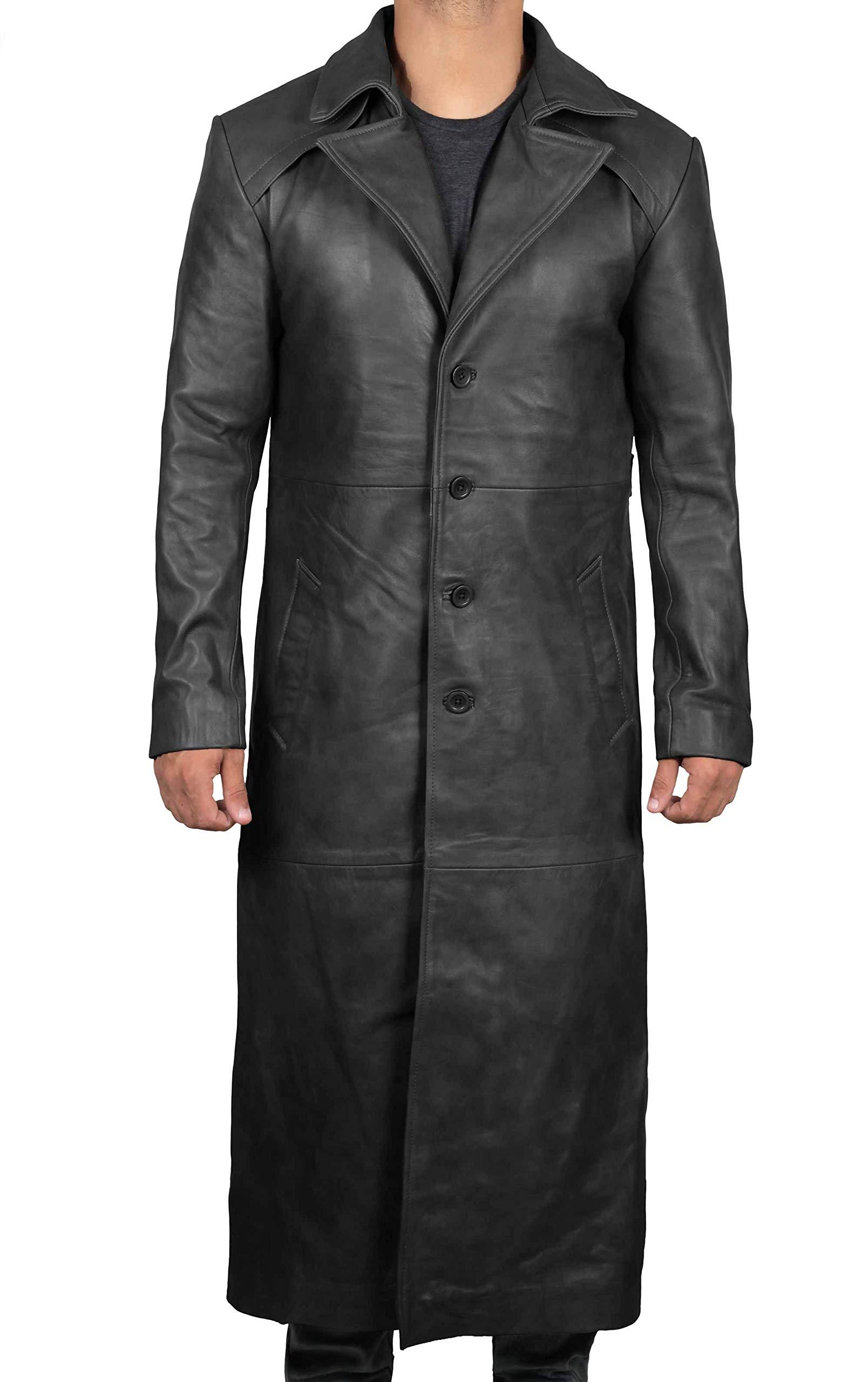 Decrum Black Jackson Leather Coat Men - Full Length Duster Overcoat Men | [1500281] XS