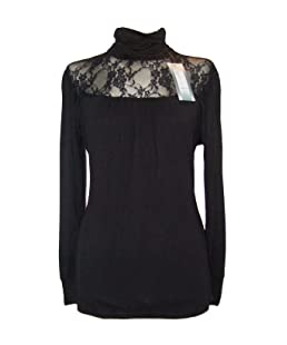 Size 22/24 Black Lace Gothic Victorian Lace Roll Polo High Neck Top Blouse