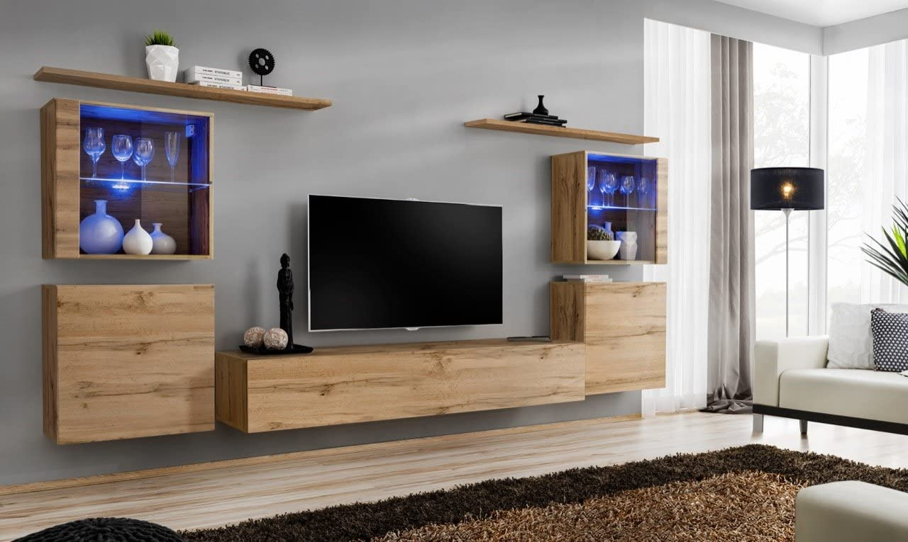 Soho 14 modern unique furniture for living room wall mounted cabinets Color Oak Oak