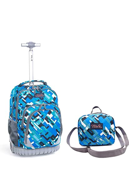 785b7ca752e2 Tilami New Antifouling Design 18 Inch Wheeled Rolling Backpack Luggage and  Lunch Bag (Blue)