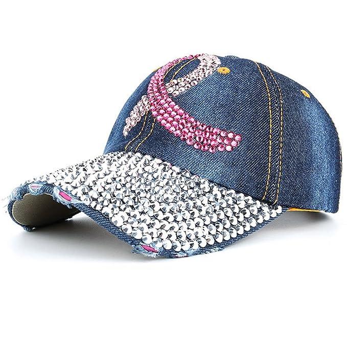 4154d3cbf3d4b2 XRDSS Fashion Women Baseball Cap Adjustable Rhinestone Sun Cap Hat (A-Dark  Blue)