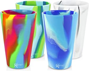 Silipint Silicone Pint Glass Set, Patented, Shatter-proof, Unbreakable Silicone Cup Drinkware (4-Pack, Tie-Dye Variety)