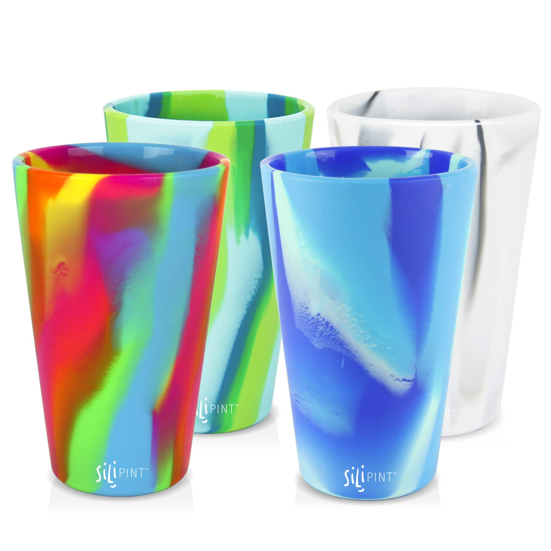 Silipint Silicone Pint Glass Set, Patented, BPA-Free, Shatter-proof, Unbreakable Silicone Cup Drinkware (4-Pack, Tie-Dye Variety) by Silipint