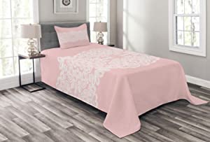 Ambesonne Pink and White Bedspread, White Needlework Ornament on Pastel Backdrop Vintage Wedding Bridal Theme, Decorative Quilted 2 Piece Coverlet Set with Pillow Sham, Twin Size, White Blush