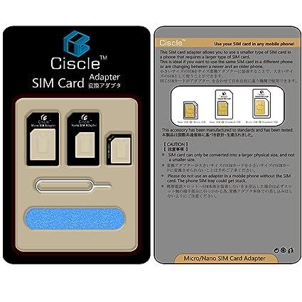Ciscle Kit Adaptador Convertidor 5 En 1 Para Tarjeta Nano Sim A Micro/ Sim Estándar (Negro)