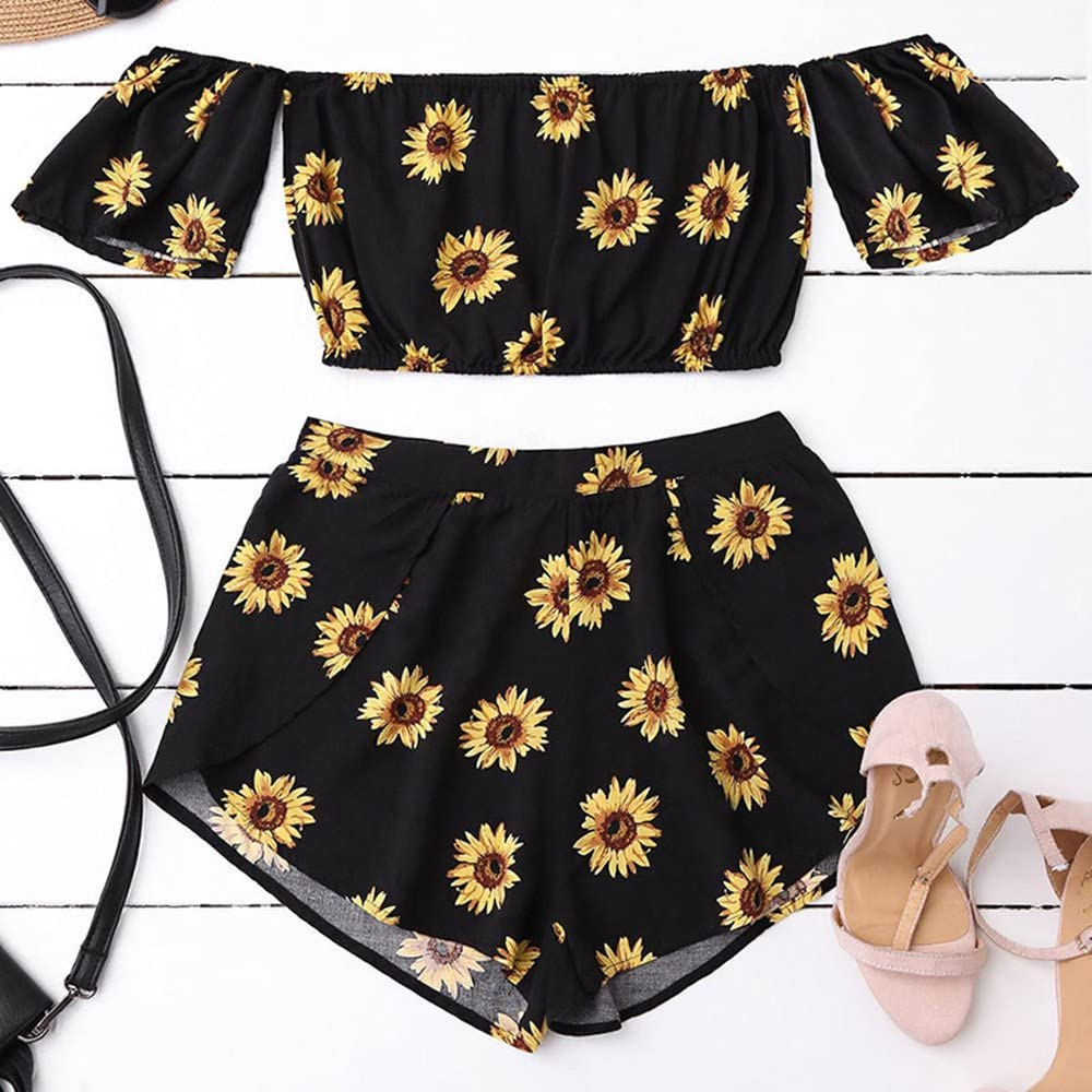 Womens Two Piece Off Shoulder Sunflower Printed Crop Top and Shorts Set Beachwear Crop Suit