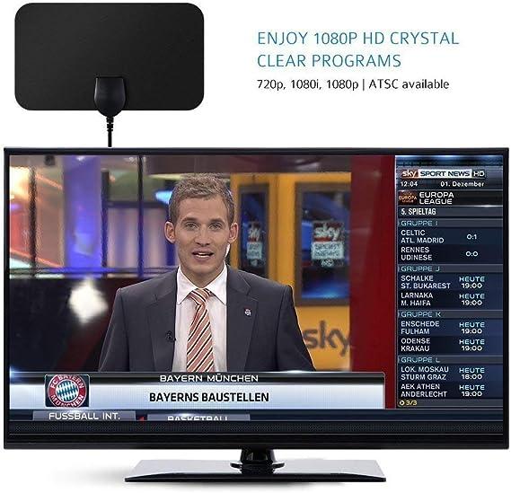 Antena Interior de TV, Antena TDT HDTV Portatil Amplificador VicTsing, Obtenga canales TV gratis, Mayor Rango de Recepción 40KM, Fácil de usar y ...