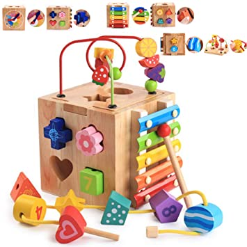 Kids Learn Activity Rollercoaster Bead Cube Maze Toy Wooden Coordination Gift US