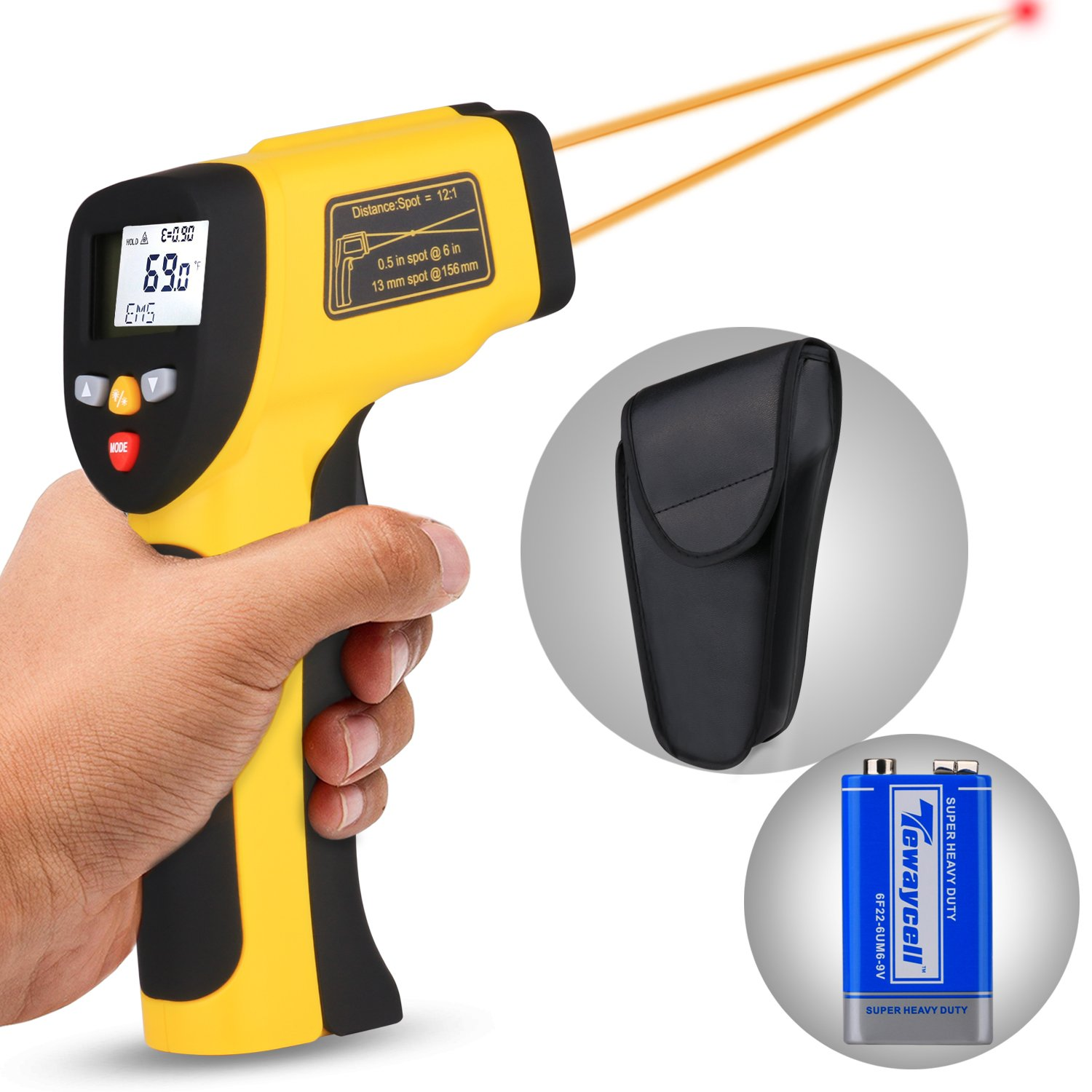 Dual Laser Infrared Thermometer, Zenic Professional Non-Contact Digital Temperature Measuring Gun with Adjustable Emissivity for Cooking / Brewing / Automobile & Industries, -50-650℃, D:S=12:1