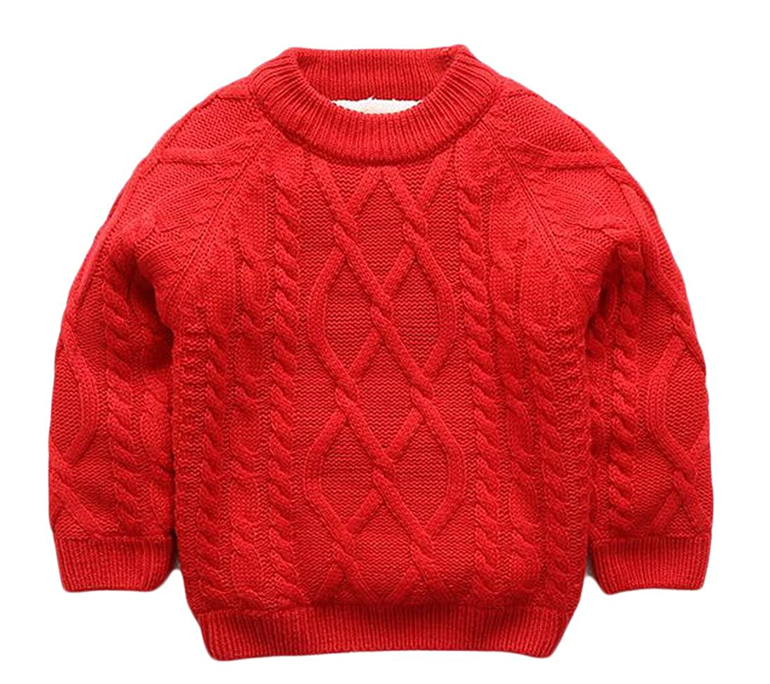 Pandapang Boys Basic Loose Fit Cable Knit Solid Color Pullover Sweater Tops