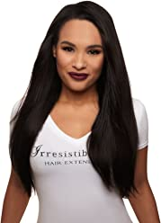 IRRESISTIBLE ME 1 piece Clip in Hair Extensions Natural Black (Color #1b) -