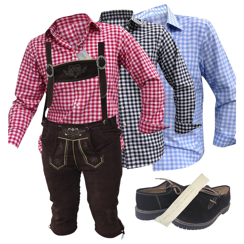 Trachten-Anzug Lederhosen +1x Hemden+Schuhe (Haferl)+Strümpfe Antik Schwarz/ Braun Echt Leder BOCKLEDER (54)