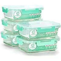 C CREST [5-Pack,34Oz] Glass Containers for Meal Prepping - Food Storage Containers with Locking Lids - Glass Food…