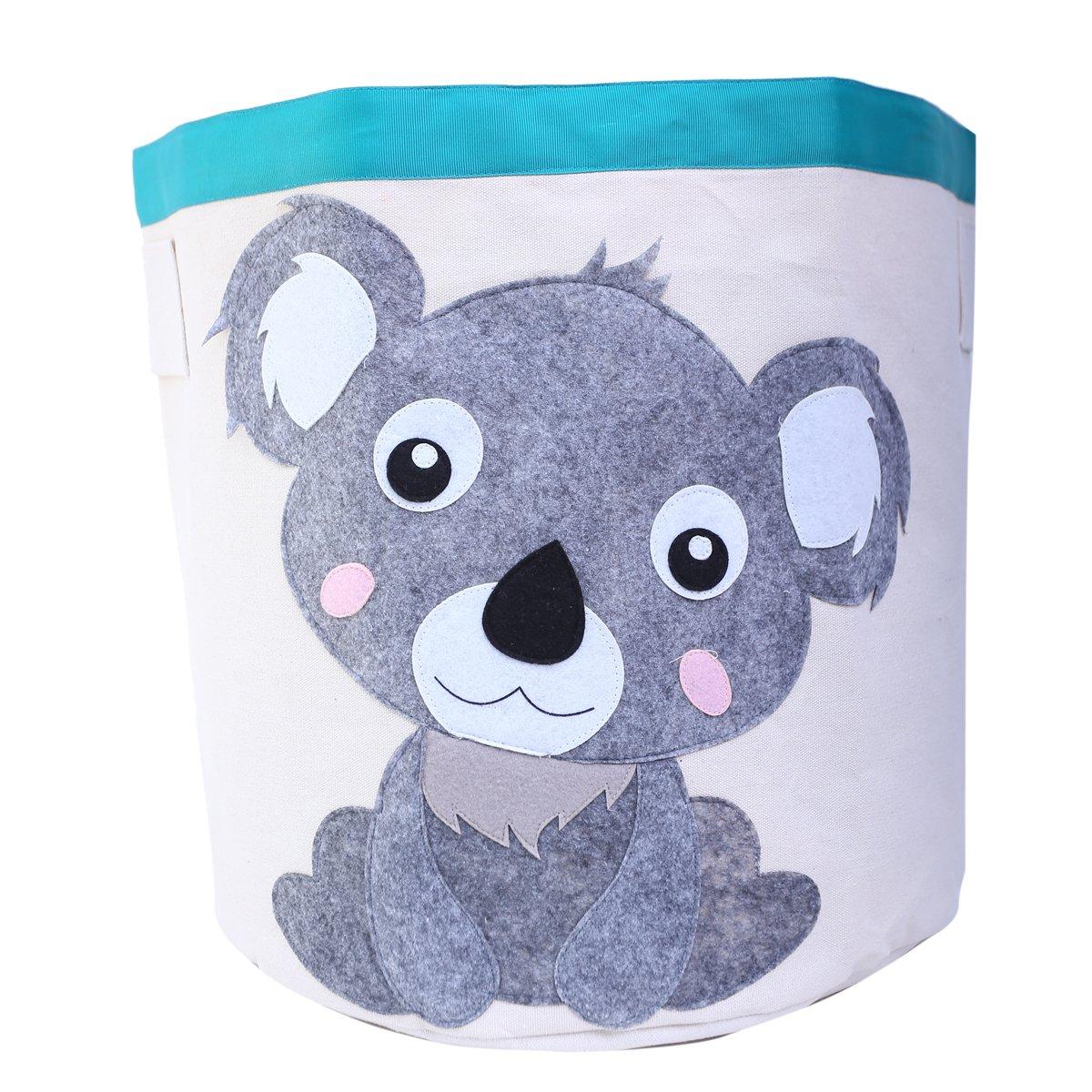 Laundry Hamper Collapsible Storage Bin Basket Canvas Column Bin Set with Handles -Waterproof Animal Design Fold Basket for Kids 17.5 x 17(Koala)