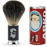 Rusty Bob - Afeitarse hecha de genuina pelo de tejón y jabón de afeitar Arko - schwarz silber